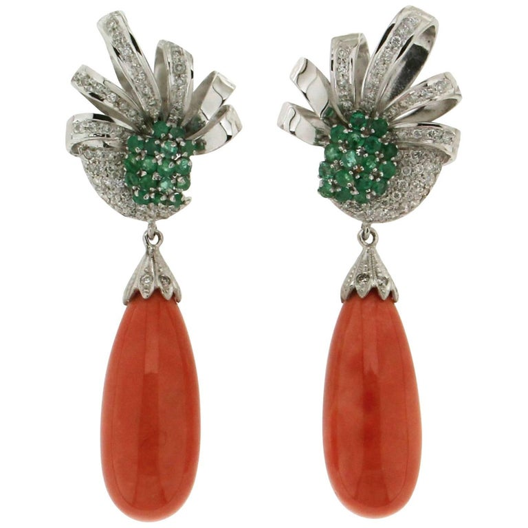 White Gold Diamonds Emeralds Coral Drop Earrings