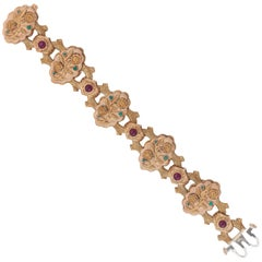 Ruby and Turquoise Tricolor Gold Bracelet, Cazzaniga