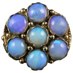 Antique Victorian Opal Cluster Ring Rose Gold Fabulous Opals