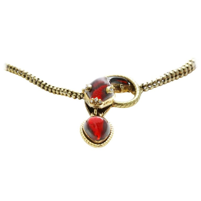 Victorian Garnet, 15 Karat Gold and Rose Cut Diamond Snake Pendant Necklace