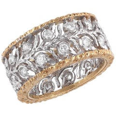 Buccellati Two-Tone Gold and Diamond Cluster Band Ring