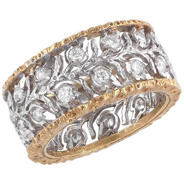 Buccellati Two-Tone Gold and Diamond Cluster Band Ring For Sale