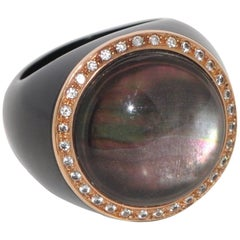 Bakelite, Quartz and White Diamonds Rose Gold Dome Ring