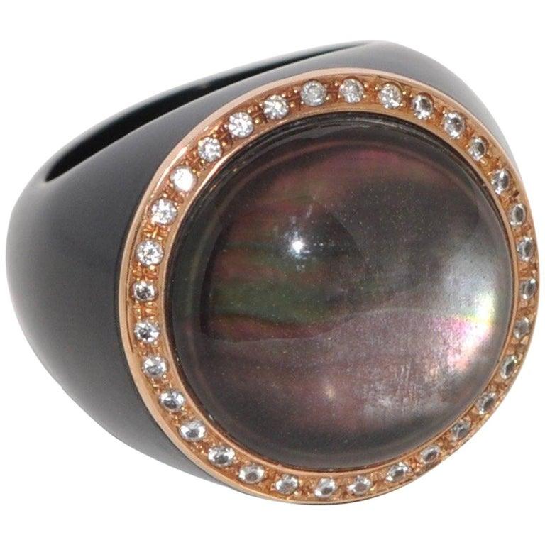 Bakelite, Quartz and White Diamonds Rose Gold Dome Ring