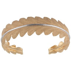 Buccellati Two-Tone Gold Leaf Shaped Bangle