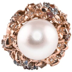 Diamonds Sapphires Australian Pearl Gold Ring