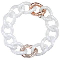 White Ceramic Groumette Bracelet 18 Karat Rose Gold and White Diamond