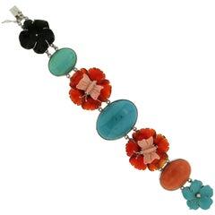 Coral Turquoise Gold Link Bracelet