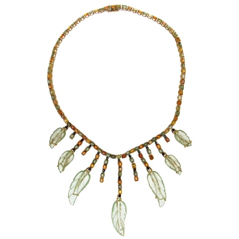 Yellow Gold Sapphires Quartz Pendant Necklace