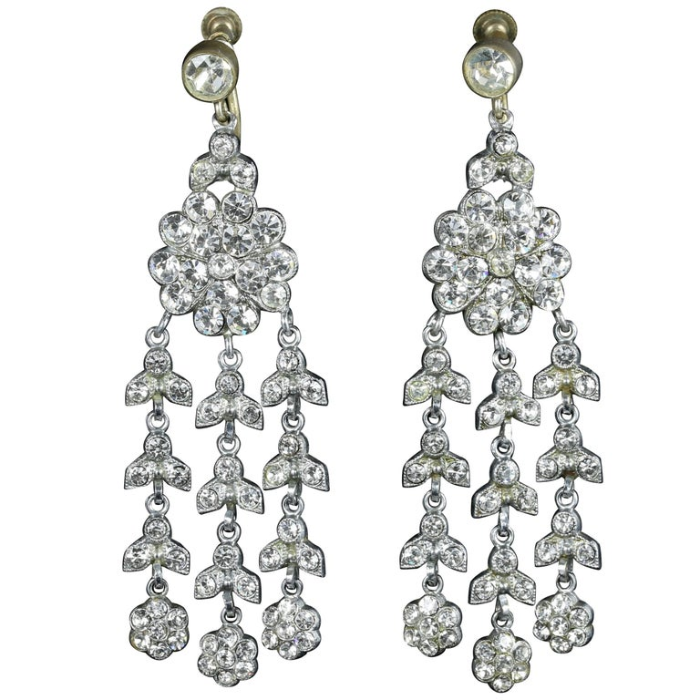 Art Deco Long Paste Earrings