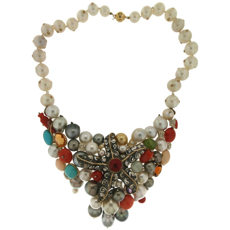 Pearls Coral Turquoise Silver Yellow Gold Choker Necklace