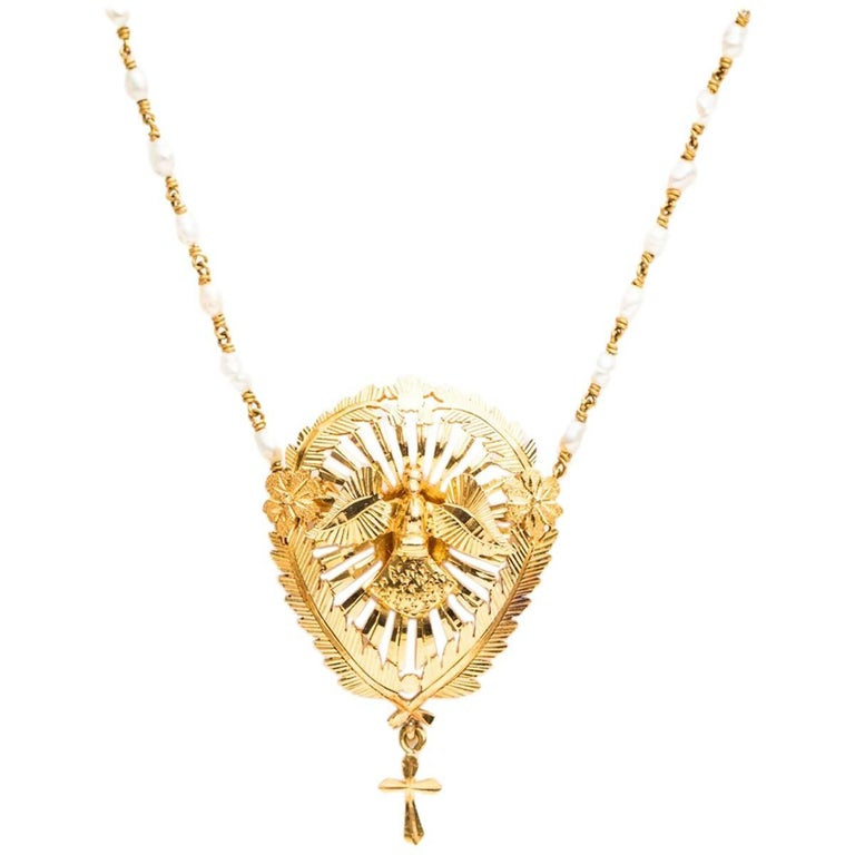 1940s Natural Pearl and 18 Karat Gold Rosary Necklace
