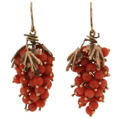 Coral Yellow Gold Drop Earrings