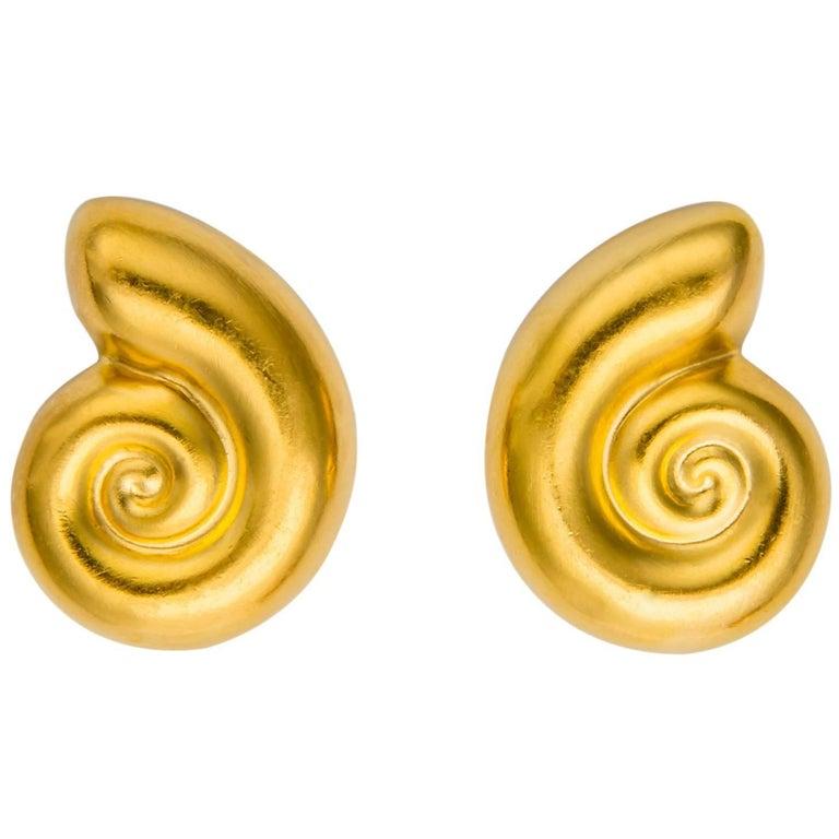 Ilias Lalaounis Nautilus Shell Earrings