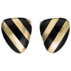 Tiffany & Co. Black Onyx and Gold Earrings