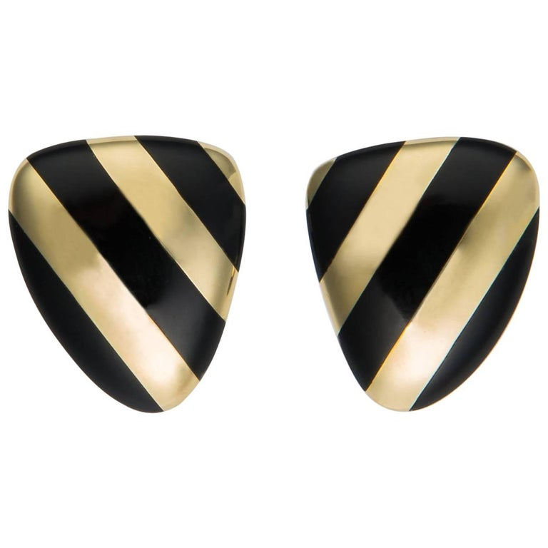 Tiffany & Co. Black Onyx and Gold Earrings