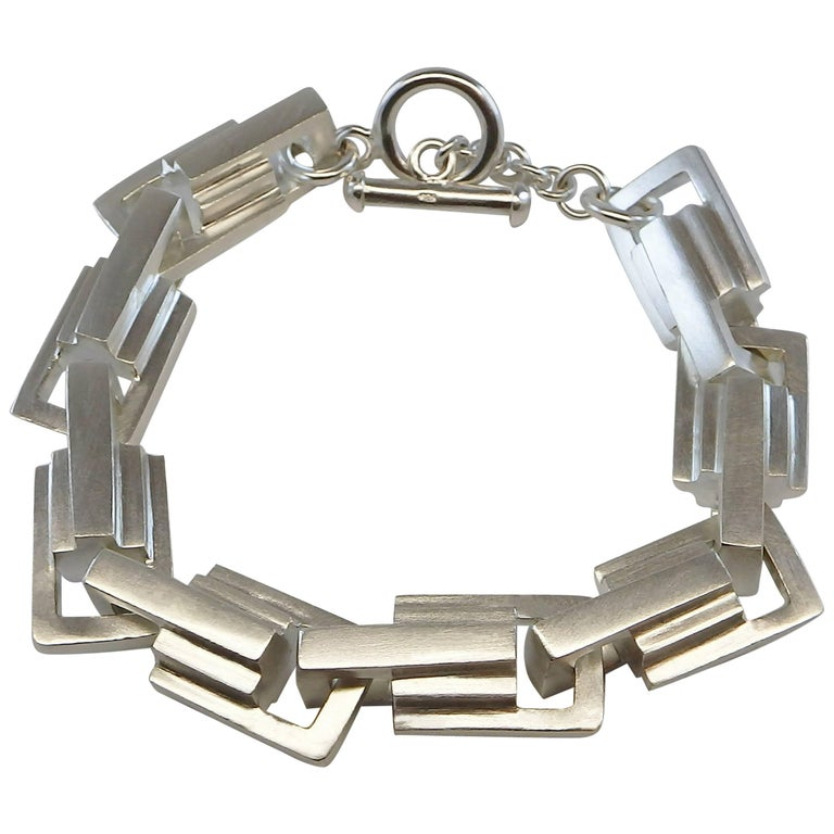 Emer Roberts Bold Weighty Silver Architectural Art Deco Links Bracelet For Sale