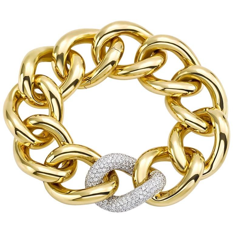 Classic Groumette Bracelet 18 Karat Yellow Gold and White Diamond