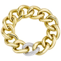 Classic Groumette Bracelet 18 Karat Yellow Gold and White Diamond