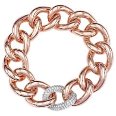 Classic Groumette Bracelet 18 Karat Pink Gold and White Diamond