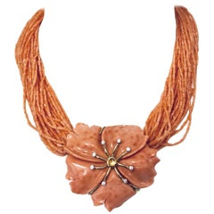 Captivating Coral and Diamond Convertible Brooch Necklace by Julia Boss