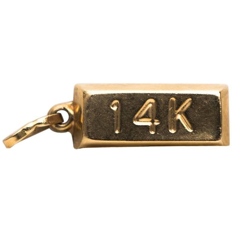 1950s 14 Karat Yellow Gold Bar Charm Pendant