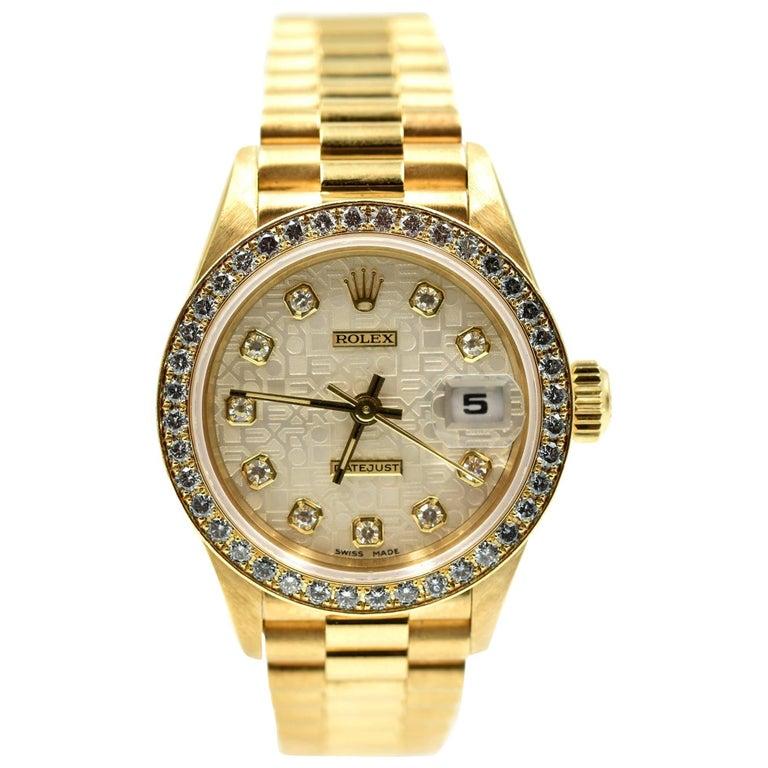 Rolex Ladies Yellow Gold Diamond President automatic Wristwatch Ref 69138