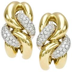 Classic Groumette Earrings 18 Karat Yellow Gold and Diamonds