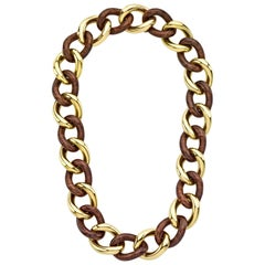 Rose Wood Groumette Necklace 18 Karat Yellow Gold