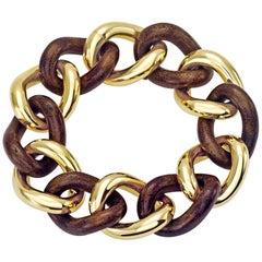Lether Groumette Bracelet 18 Karat Yellow Gold
