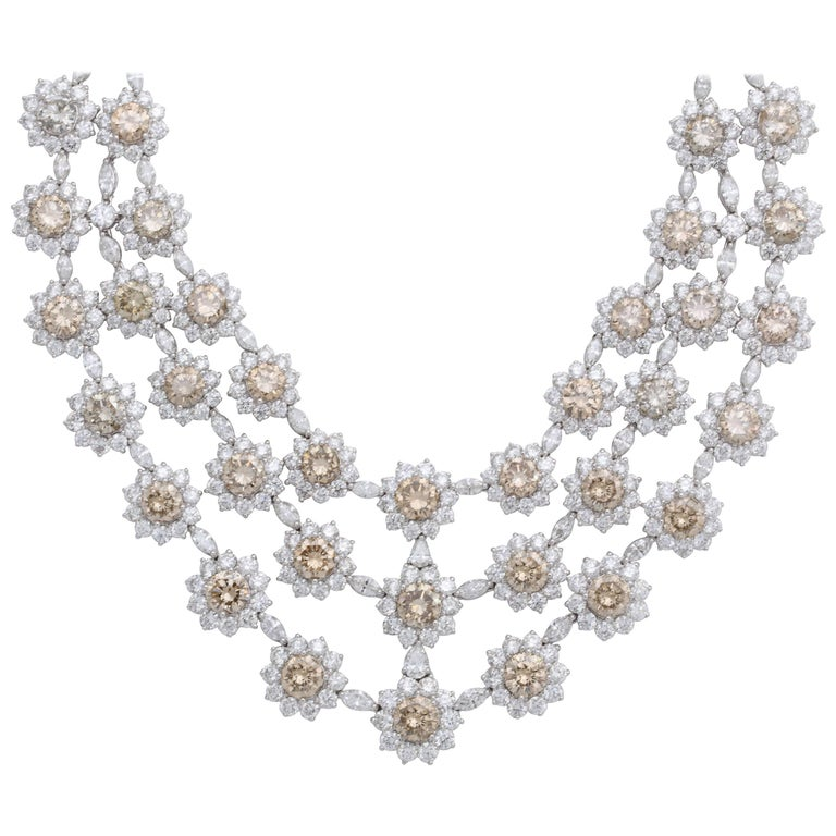 White Gold Diamond Bib Necklace