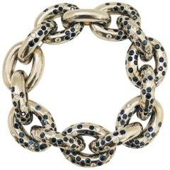 Cantamessa 18 Karat Stunning Sapphire and Diamond Link Bracelet, 1990s