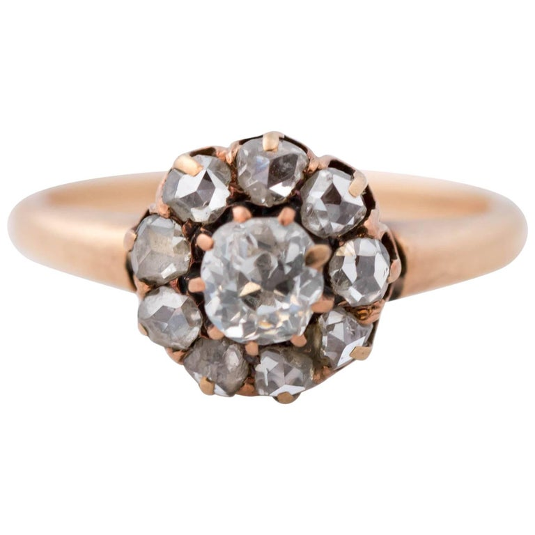 1850s 0.50 Carat Diamond and 14 Karat Rose Gold Engagement Ring