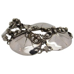 Mary Gage Sterling Silver Beaded Lily Pad Link Bracelet