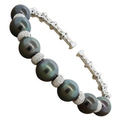 Tahitian Pearl Diamond Gold Stretch Cuff Bracelet