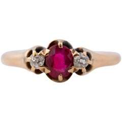 1890s .50 Carat Ruby and Diamond 14 Karat Gold Ring