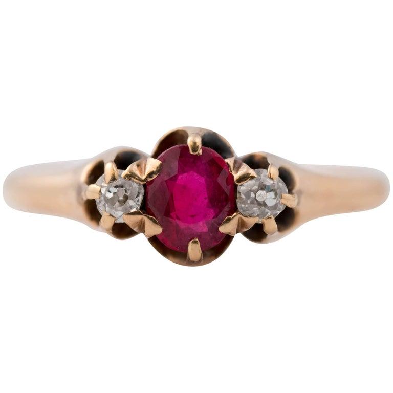 1890s .50 Carat Ruby and Diamond 14 Karat Gold Ring
