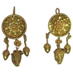 22 Karat Yellow Gold Dangle Earrings with Ram Motif