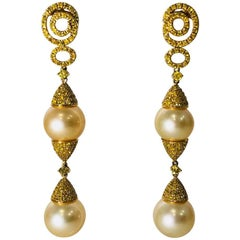 18 Karat Glorious Golden Pearls and Natural Yellow Diamonds Dangle Earrings
