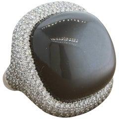 Large Moonstone Diamond Gold Cocktail Ring