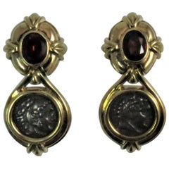 Susan Berman 18 Karat Yellow Gold Garnet and Ancient Roman Coin Drop Earrings
