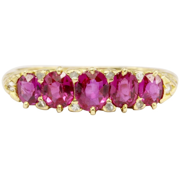 Victorian Gold Natural Pink Sapphire Five-Stone Half Band Ring