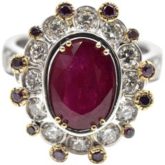Natural Burma Ruby, Purple and White Diamond Ring