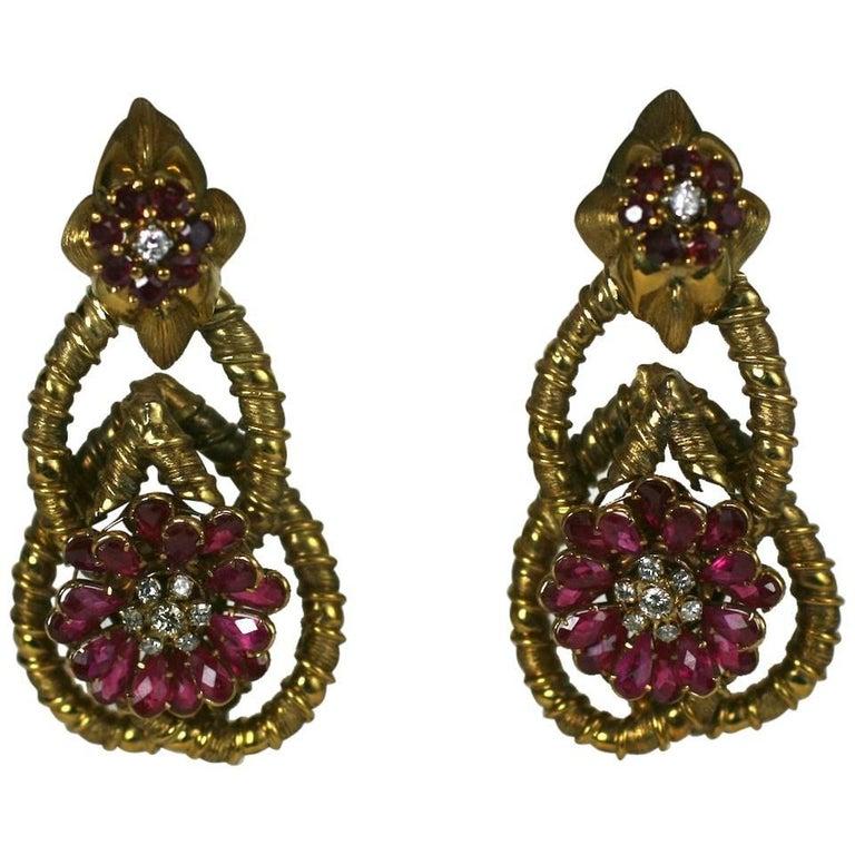 Elegant Ruby and Diamond Earrings