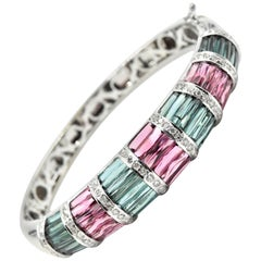 Diamond and Mixed Tourmaline 18 Karat White Gold Bangle Bracelet