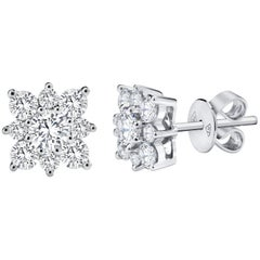 Cluster Diamond Gold Flower Stud Earrings