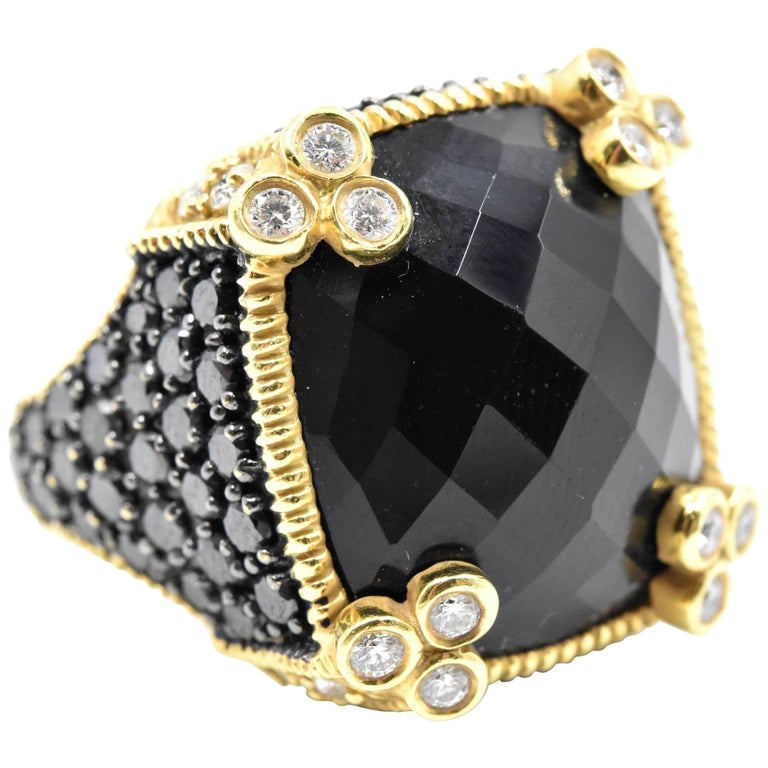 Judith Ripka Black Onyx with White and Black Diamonds Ring