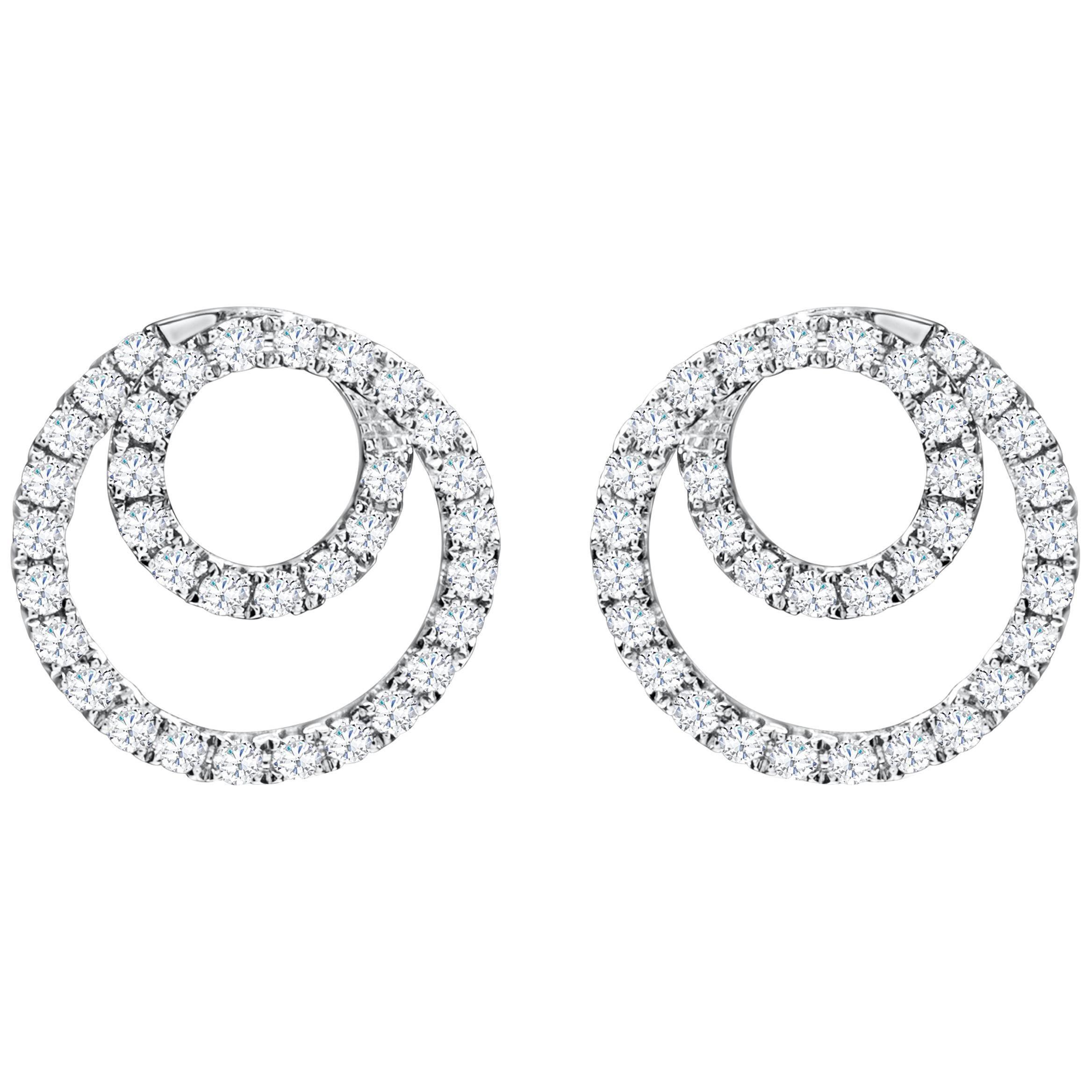 Cluster Diamond Gold Swirl Stud Earrings