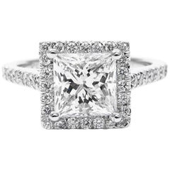GIA Certified 1.50 Carat Princess Cut Diamond Platinum Halo Frame Pave Ring