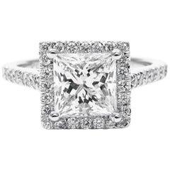 GIA Certified 1.50 Carat Princess Cut Diamond Platinum Halo Frame Pave Ring